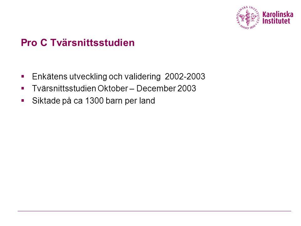 Pro C Tvärsnittsstudien  Enkätens utveckling och validering 2002-2003  Tvärsnittsstudien Oktober – December 2003  Siktade på ca 1300 barn per land