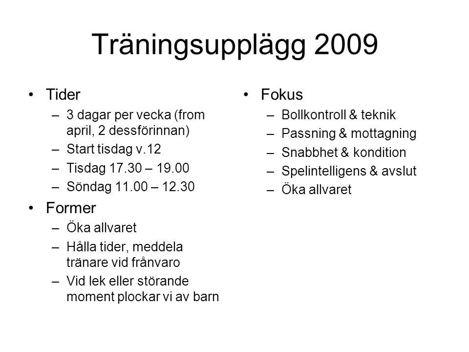 Träningsupplägg 2009 Tider –3 dagar per vecka (from april, 2 dessförinnan) –Start tisdag v.12 –Tisdag 17.30 – 19.00 –Söndag 11.00 – 12.30 Former –Öka