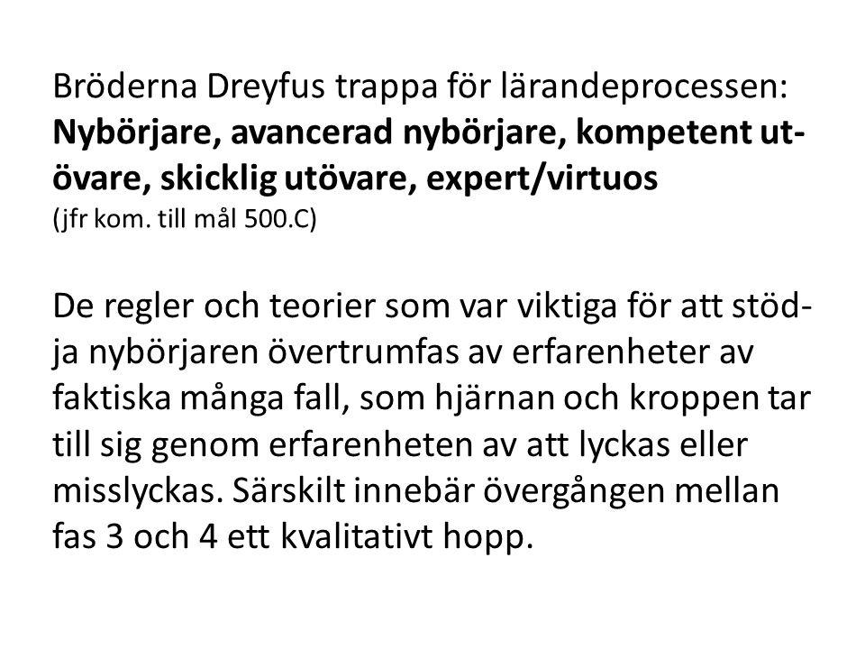 Bröderna Dreyfus trappa för lärandeprocessen: Nybörjare, avancerad nybörjare, kompetent ut- övare, skicklig utövare, expert/virtuos (jfr kom. till mål