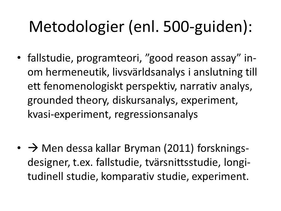 """Metodologier (enl. 500-guiden): fallstudie, programteori, """"good reason assay"""" in- om hermeneutik, livsvärldsanalys i anslutning till ett fenomenologis"""