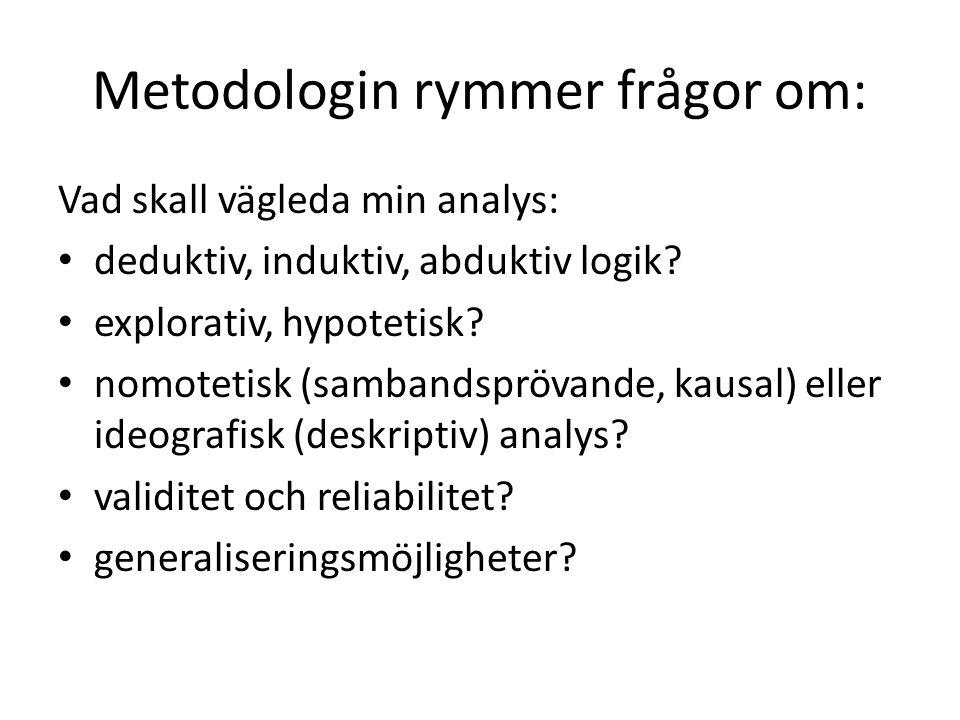 Metodologin rymmer frågor om: Vad skall vägleda min analys: deduktiv, induktiv, abduktiv logik? explorativ, hypotetisk? nomotetisk (sambandsprövande,