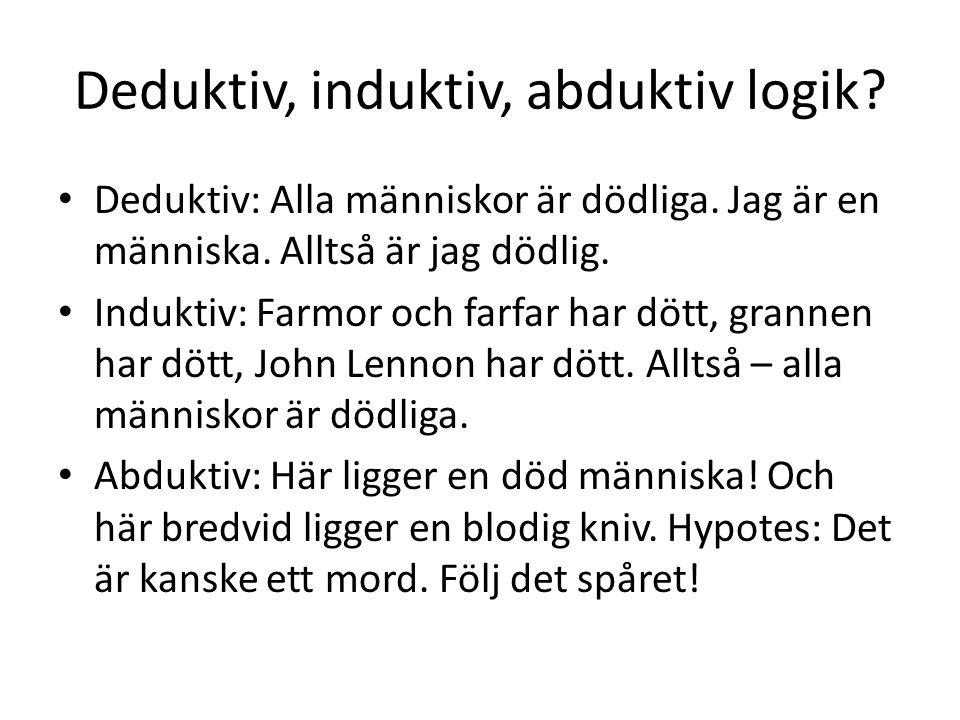 Deduktiv, induktiv, abduktiv logik? Deduktiv: Alla människor är dödliga. Jag är en människa. Alltså är jag dödlig. Induktiv: Farmor och farfar har döt