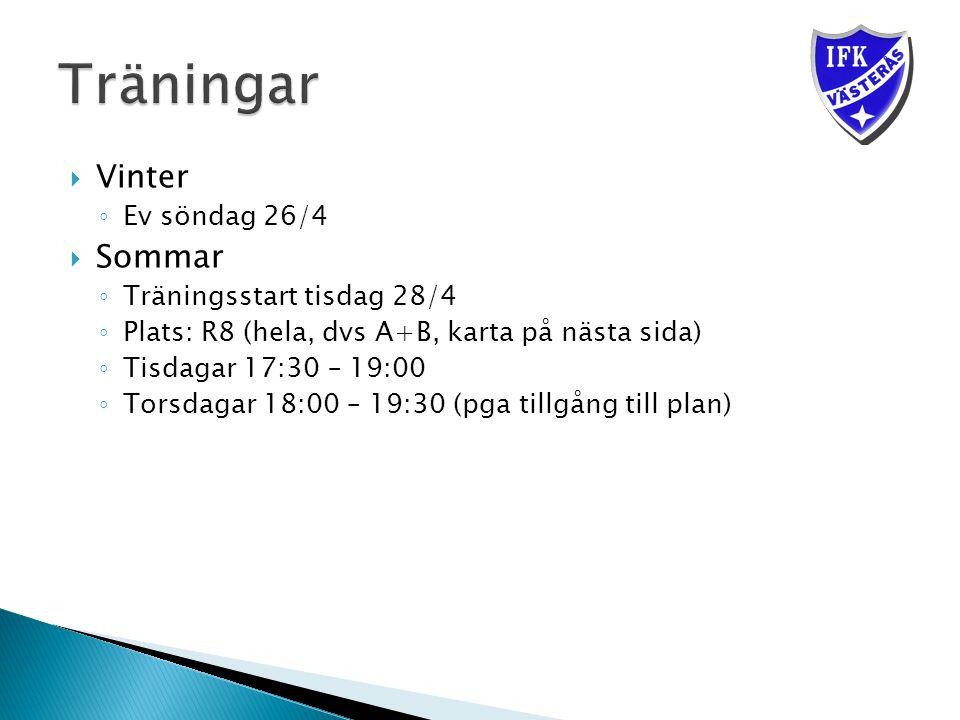  Vinter ◦ Ev söndag 26/4  Sommar ◦ Träningsstart tisdag 28/4 ◦ Plats: R8 (hela, dvs A+B, karta på nästa sida) ◦ Tisdagar 17:30 – 19:00 ◦ Torsdagar 18:00 – 19:30 (pga tillgång till plan)