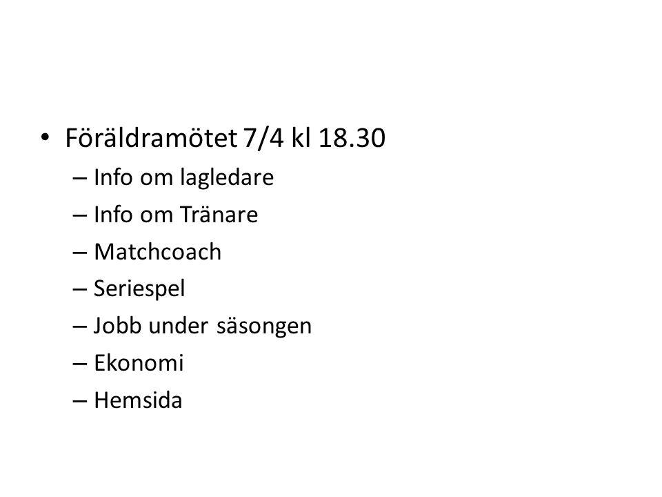 Föräldramötet 7/4 kl 18.30 – Info om lagledare – Info om Tränare – Matchcoach – Seriespel – Jobb under säsongen – Ekonomi – Hemsida