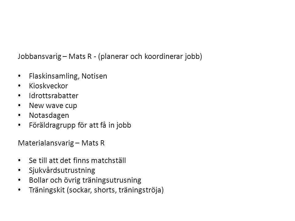 Jobbansvarig – Mats R - (planerar och koordinerar jobb) Flaskinsamling, Notisen Kioskveckor Idrottsrabatter New wave cup Notasdagen Föräldragrupp för