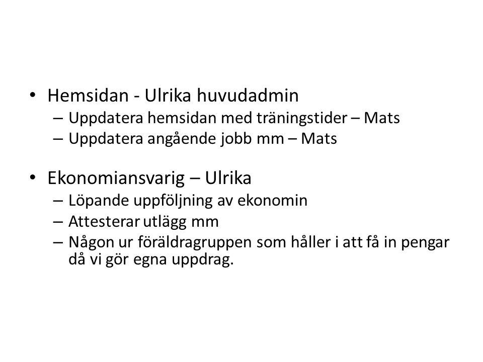 Hemsidan - Ulrika huvudadmin – Uppdatera hemsidan med träningstider – Mats – Uppdatera angående jobb mm – Mats Ekonomiansvarig – Ulrika – Löpande uppf