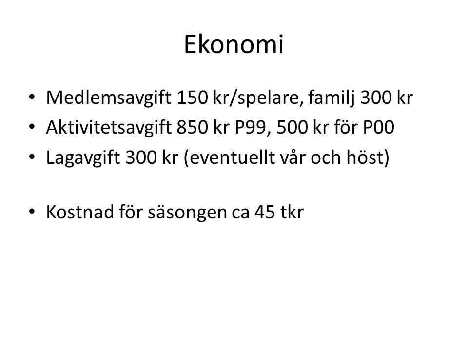 Ekonomi Medlemsavgift 150 kr/spelare, familj 300 kr Aktivitetsavgift 850 kr P99, 500 kr för P00 Lagavgift 300 kr (eventuellt vår och höst) Kostnad för säsongen ca 45 tkr