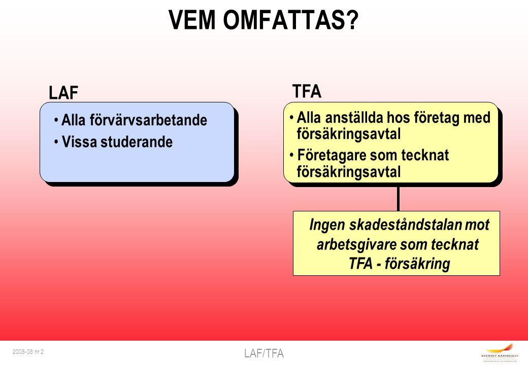 LAF/TFA 2008-08 nr 2 VEM OMFATTAS? Ingen skadeståndstalan mot arbetsgivare som tecknat TFA - försäkring Alla förvärvsarbetande Vissa studerande LAF Al