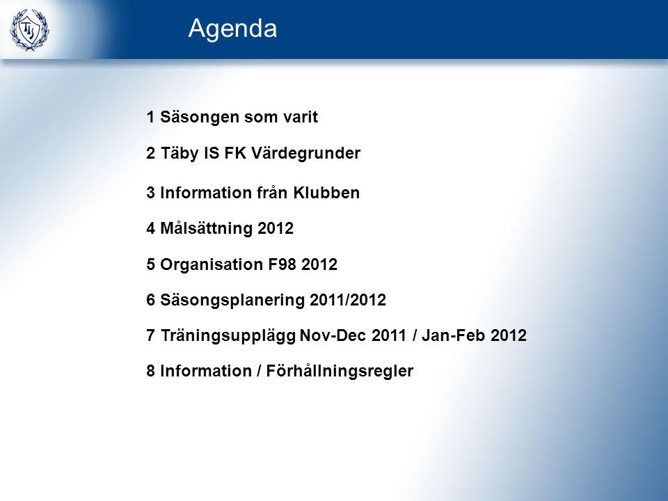 Agenda 1 Säsongen som varit 2 Täby IS FK Värdegrunder 3 Information från Klubben 4 Målsättning 2012 5 Organisation F98 2012 6 Säsongsplanering 2011/2012 7 Träningsupplägg Nov-Dec 2011 / Jan-Feb 2012 8 Information / Förhållningsregler