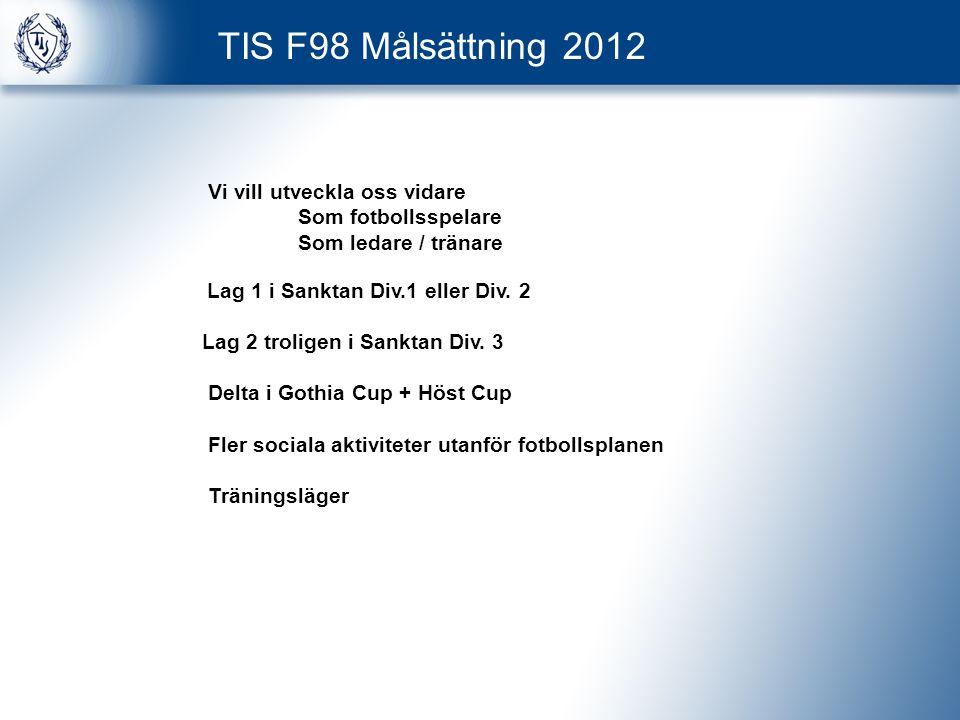 TIS F98 Målsättning 2012 Vi vill utveckla oss vidare Som fotbollsspelare Som ledare / tränare Lag 1 i Sanktan Div.1 eller Div.