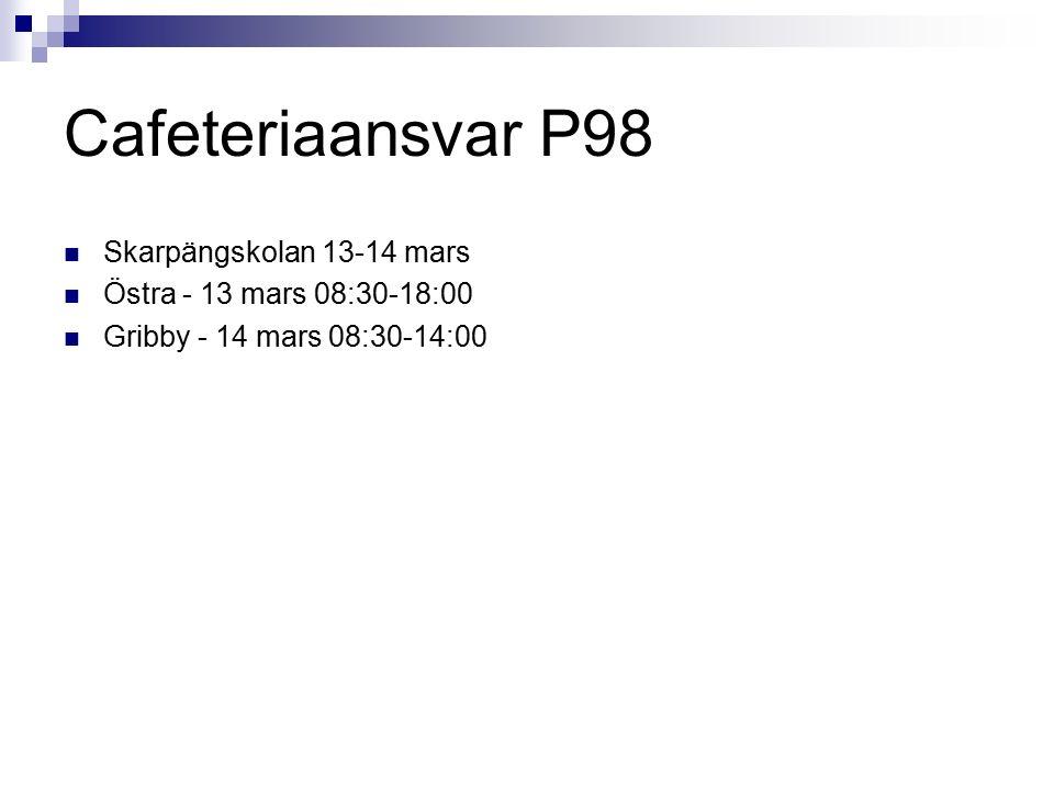 Cafeteriaansvar P98 Skarpängskolan 13-14 mars Östra - 13 mars 08:30-18:00 Gribby - 14 mars 08:30-14:00