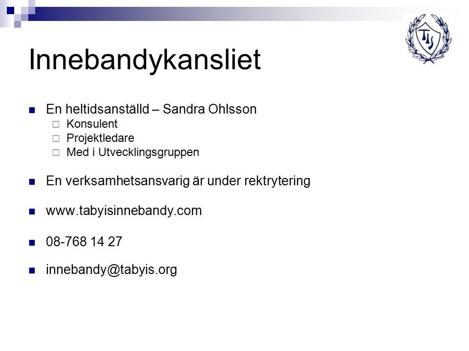 Innebandykansliet En heltidsanställd – Sandra Ohlsson  Konsulent  Projektledare  Med i Utvecklingsgruppen En verksamhetsansvarig är under rektrytering www.tabyisinnebandy.com 08-768 14 27 innebandy@tabyis.org
