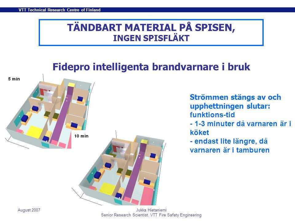 VTT Technical Research Centre of Finland August 2007Jukka Hietaniemi Senior Research Scientist, VTT Fire Safety Engineering LAMPA SOM FALLIT PÅ SÄNGEN