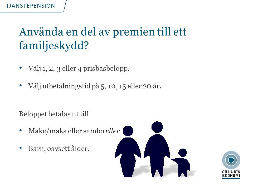 TJÄNSTEPENSION Använda en del av premien till ett familjeskydd.