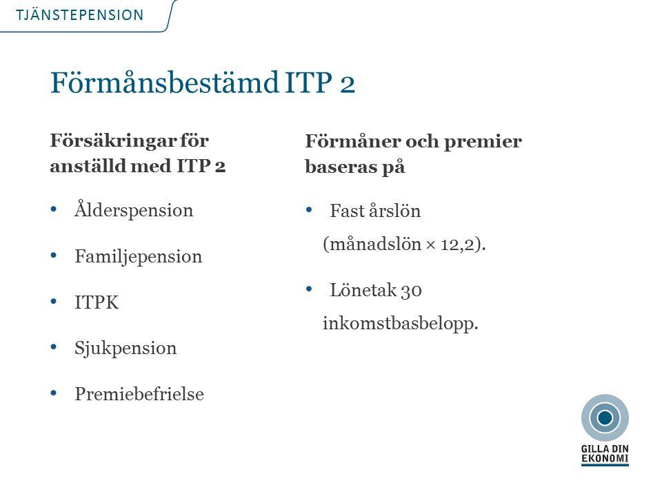 TJÄNSTEPENSION Förmåner och premier baseras på Fast årslön (månadslön × 12,2).