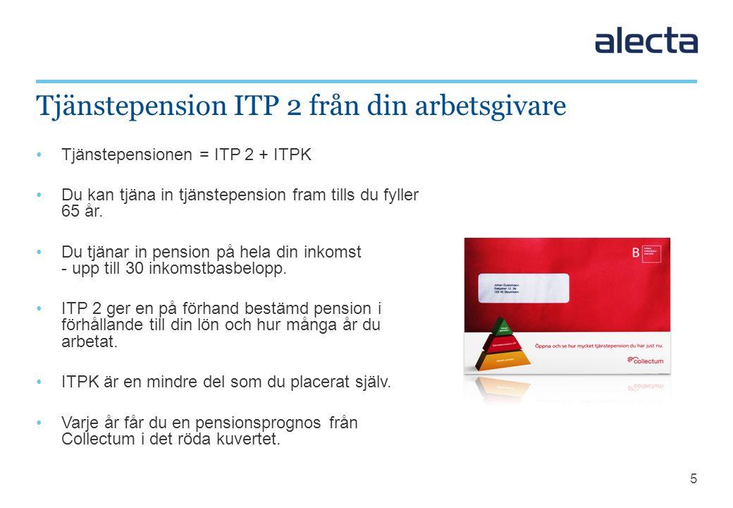 5 Tjänstepensionen = ITP 2 + ITPK Du kan tjäna in tjänstepension fram tills du fyller 65 år. Du tjänar in pension på hela din inkomst - upp till 30 in