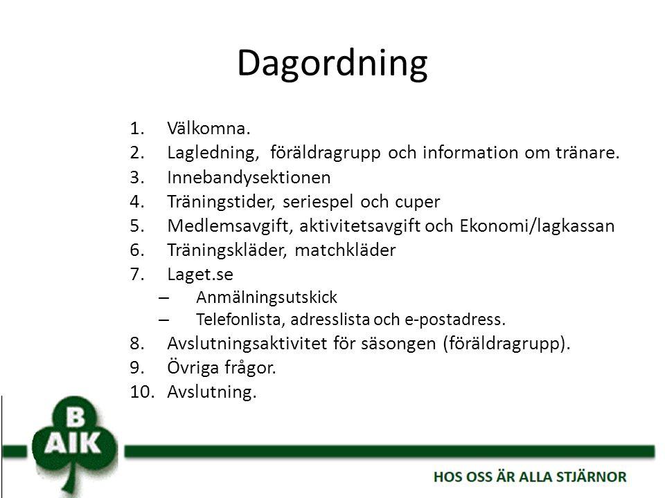 Dagordning 1.Välkomna. 2.Lagledning, föräldragrupp och information om tränare. 3.Innebandysektionen 4.Träningstider, seriespel och cuper 5.Medlemsavgi