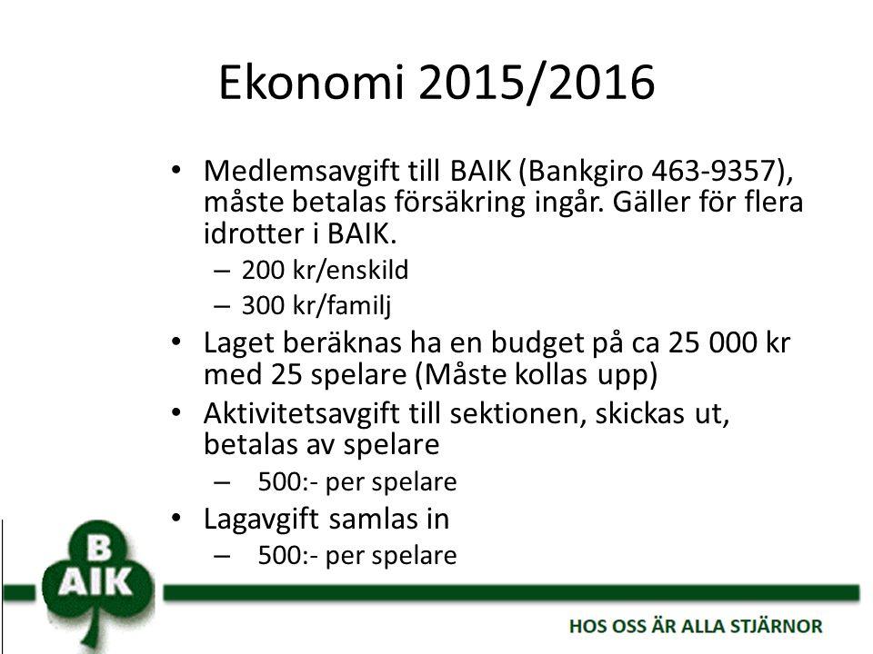 Ekonomi 2015/2016 Medlemsavgift till BAIK (Bankgiro 463-9357), måste betalas försäkring ingår. Gäller för flera idrotter i BAIK. – 200 kr/enskild – 30