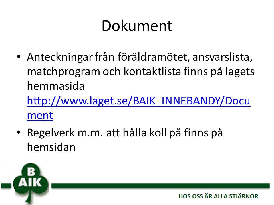 Dokument Anteckningar från föräldramötet, ansvarslista, matchprogram och kontaktlista finns på lagets hemmasida http://www.laget.se/BAIK_INNEBANDY/Doc