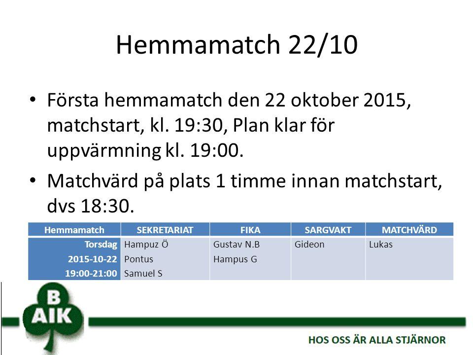 Hemmamatch 22/10 Första hemmamatch den 22 oktober 2015, matchstart, kl. 19:30, Plan klar för uppvärmning kl. 19:00. Matchvärd på plats 1 timme innan m