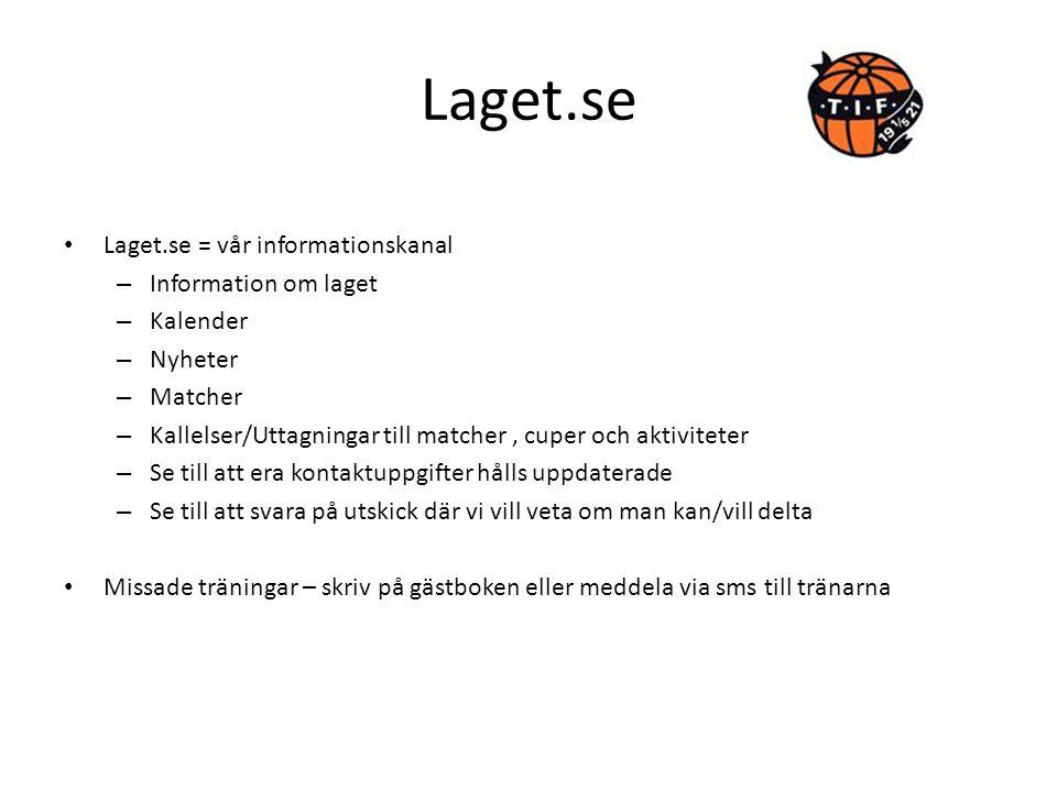 Laget.se Laget.se = vår informationskanal – Information om laget – Kalender – Nyheter – Matcher – Kallelser/Uttagningar till matcher, cuper och aktivi
