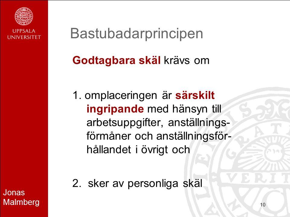 Jonas Malmberg 10 Bastubadarprincipen Godtagbara skäl krävs om 1. omplaceringen är särskilt ingripande med hänsyn till arbetsuppgifter, anställnings-