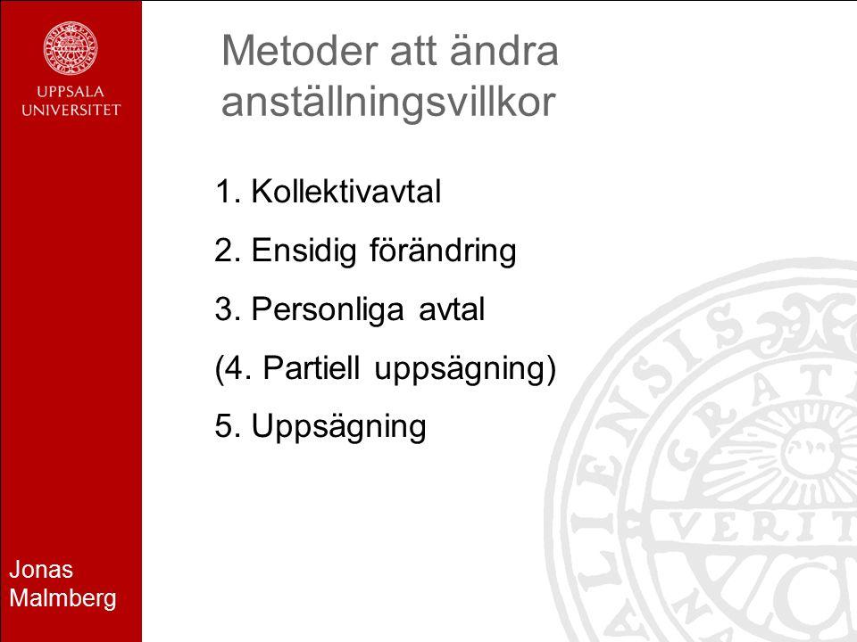 Jonas Malmberg Metoder att ändra anställningsvillkor 1. Kollektivavtal 2. Ensidig förändring 3. Personliga avtal (4. Partiell uppsägning) 5. Uppsägnin