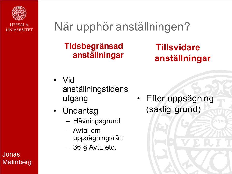 Jonas Malmberg När upphör anställningen? Tidsbegränsad anställningar Vid anställningstidens utgång Undantag –Hävningsgrund –Avtal om uppsägningsrätt –