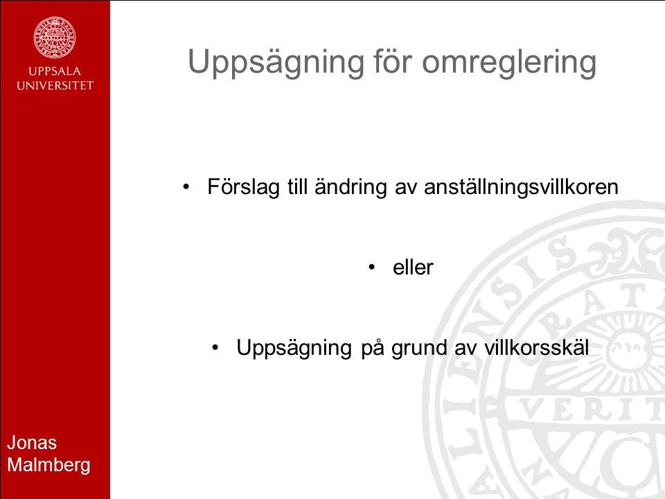 Jonas Malmberg Uppsägning för omreglering Förslag till ändring av anställningsvillkoren eller Uppsägning på grund av villkorsskäl