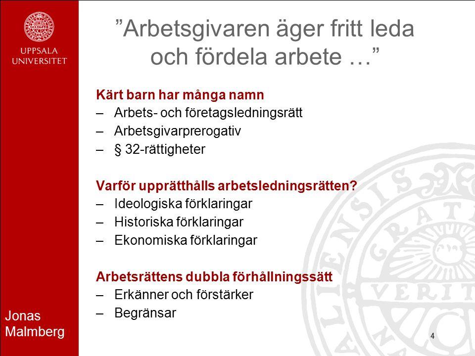 """Jonas Malmberg 4 """"Arbetsgivaren äger fritt leda och fördela arbete …"""" Kärt barn har många namn –Arbets- och företagsledningsrätt –Arbetsgivarprerogati"""