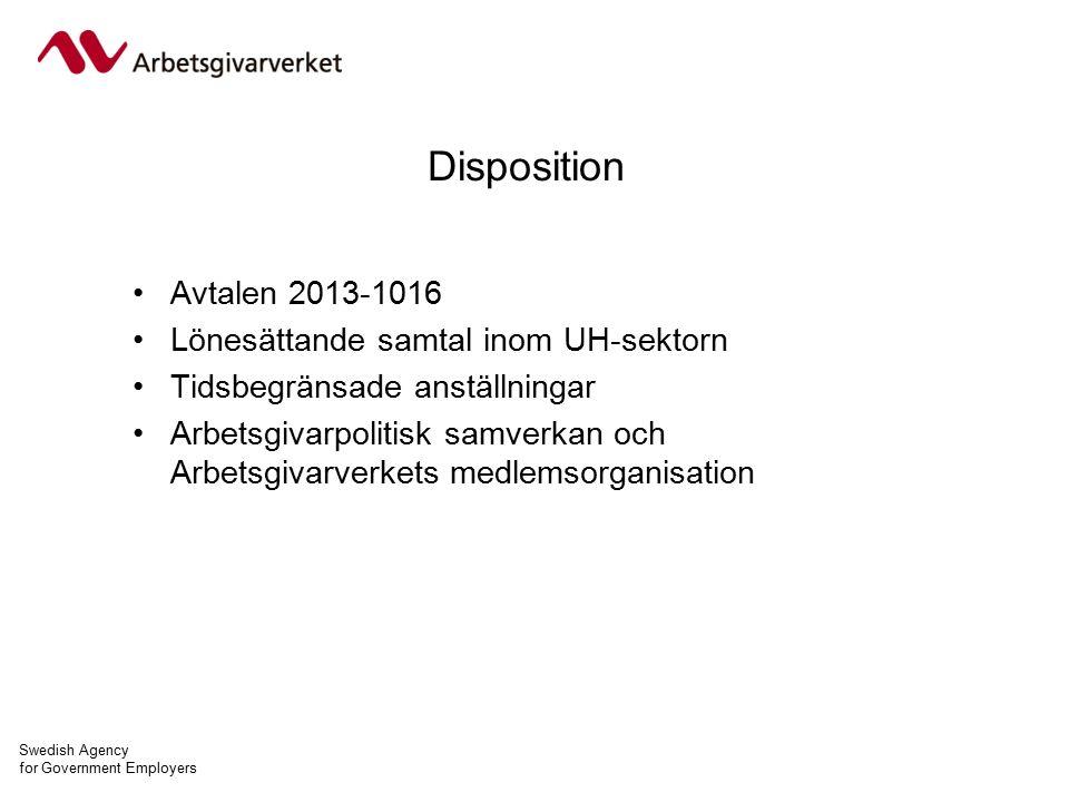 Swedish Agency for Government Employers Disposition Avtalen 2013-1016 Lönesättande samtal inom UH-sektorn Tidsbegränsade anställningar Arbetsgivarpolitisk samverkan och Arbetsgivarverkets medlemsorganisation