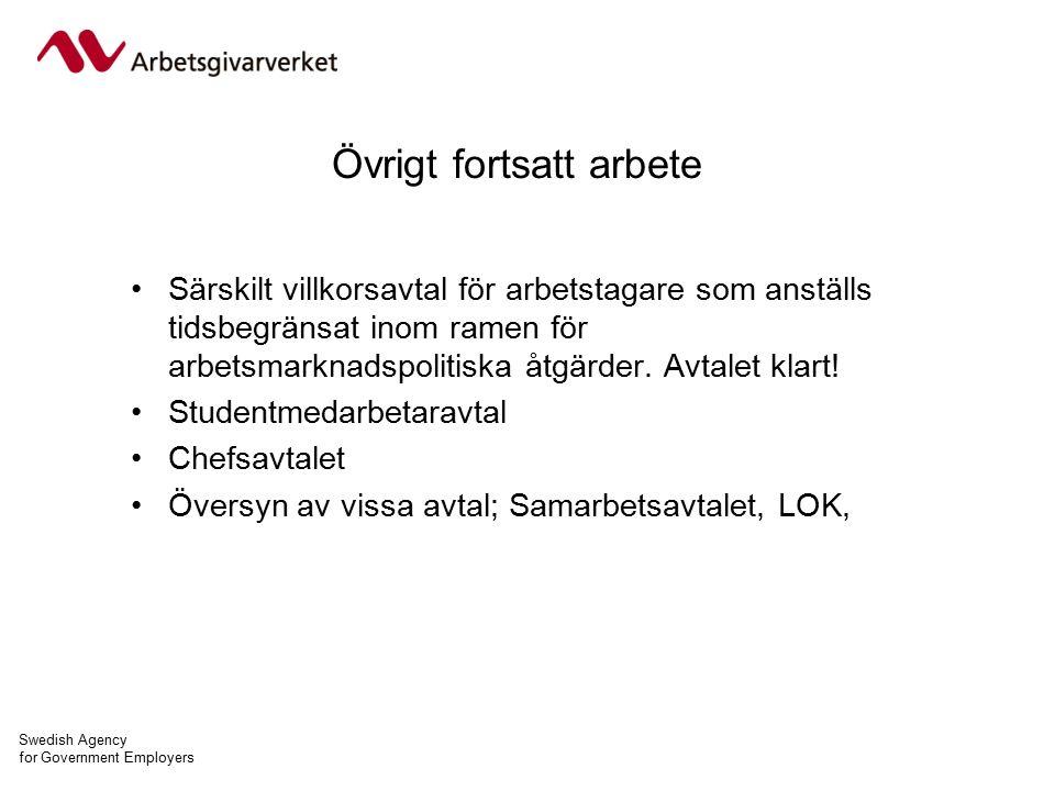Swedish Agency for Government Employers Övrigt fortsatt arbete Särskilt villkorsavtal för arbetstagare som anställs tidsbegränsat inom ramen för arbetsmarknadspolitiska åtgärder.