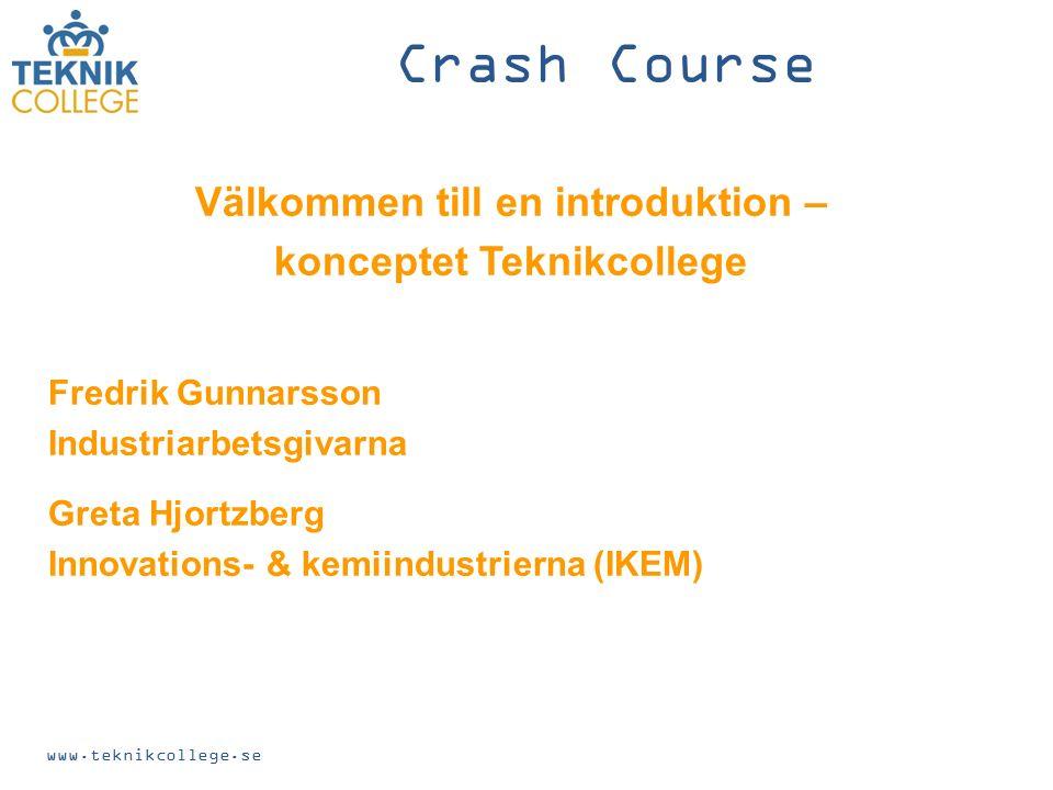 Välkommen till en introduktion – konceptet Teknikcollege Fredrik Gunnarsson Industriarbetsgivarna Greta Hjortzberg Innovations- & kemiindustrierna (IKEM) www.teknikcollege.se Crash Course