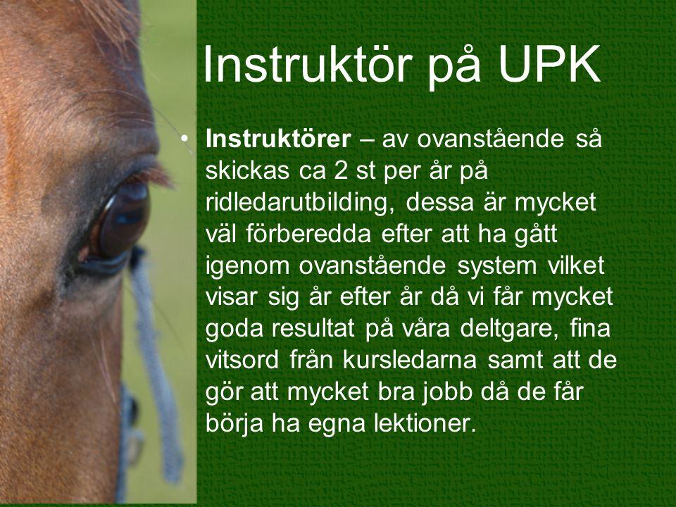 Instruktör på UPK Instruktörer – av ovanstående så skickas ca 2 st per år på ridledarutbilding, dessa är mycket väl förberedda efter att ha gått igeno