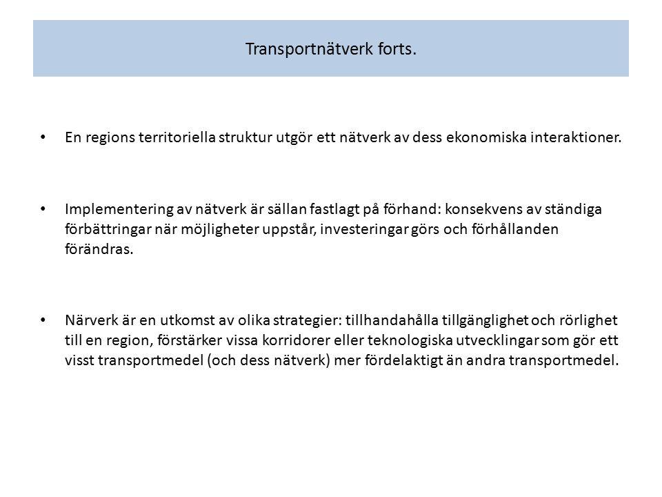 Transportnätverk forts. En regions territoriella struktur utgör ett nätverk av dess ekonomiska interaktioner. Implementering av nätverk är sällan fast