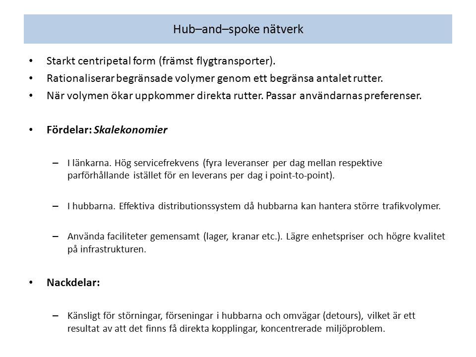 Hub–and–spoke nätverk Starkt centripetal form (främst flygtransporter). Rationaliserar begränsade volymer genom ett begränsa antalet rutter. När volym