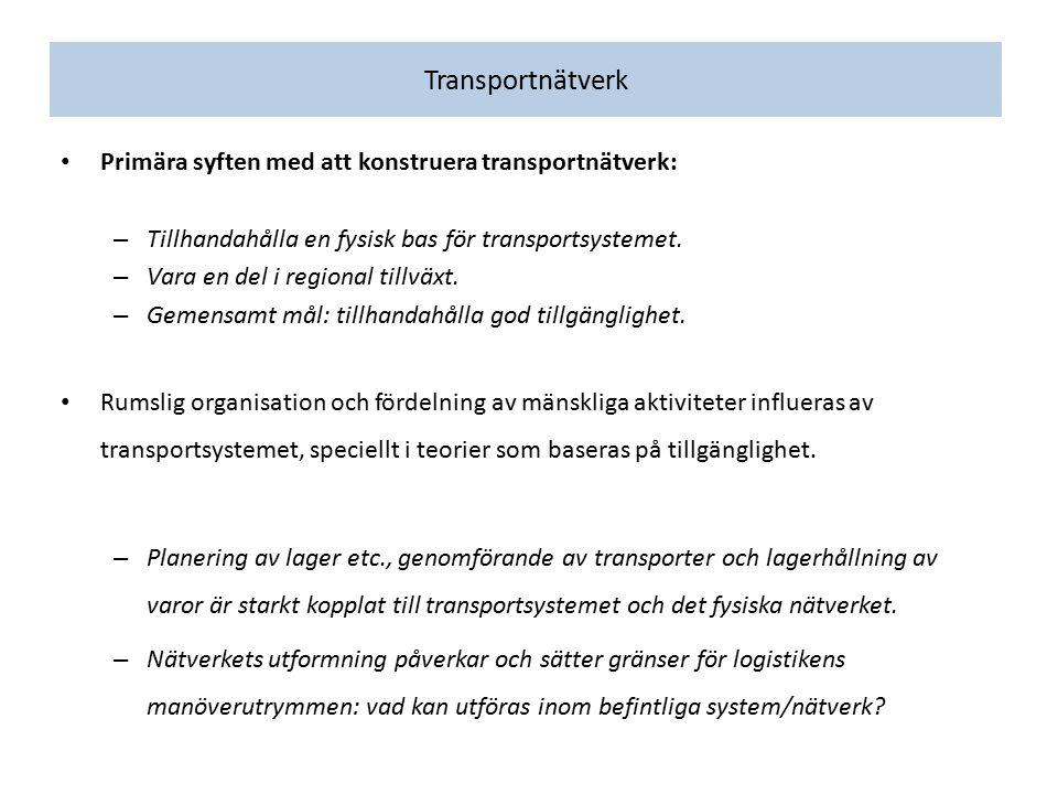Transportnätverk Primära syften med att konstruera transportnätverk: – Tillhandahålla en fysisk bas för transportsystemet. – Vara en del i regional ti