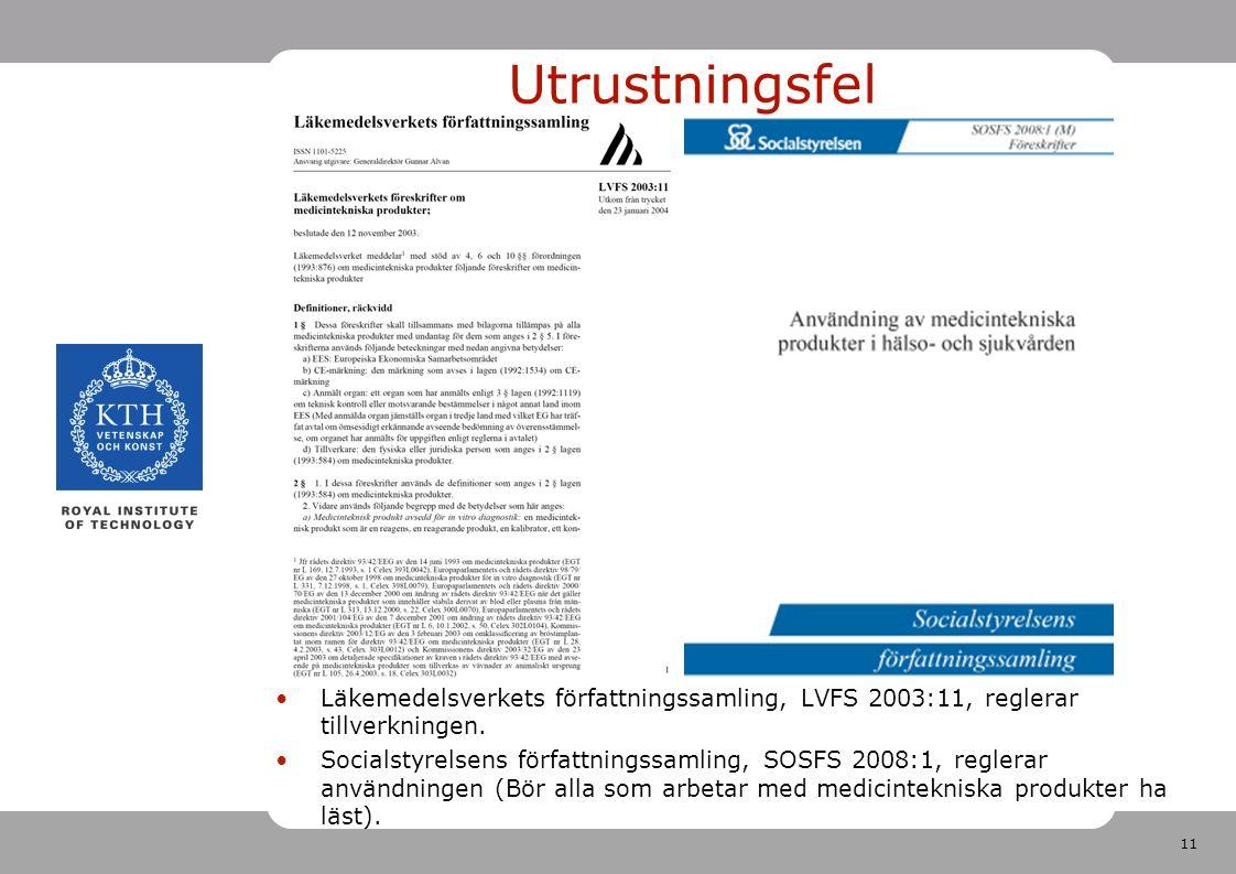 11 Utrustningsfel Läkemedelsverkets författningssamling, LVFS 2003:11, reglerar tillverkningen.