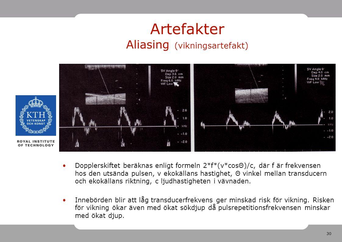 30 Artefakter Aliasing (vikningsartefakt) Dopplerskiftet beräknas enligt formeln 2*f*(v*cosΘ)/c, där f är frekvensen hos den utsända pulsen, v ekokällans hastighet, Θ vinkel mellan transducern och ekokällans riktning, c ljudhastigheten i vävnaden.