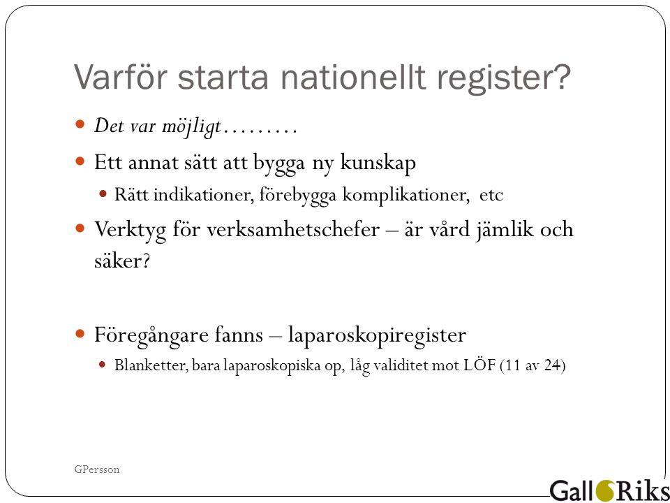 Varför starta nationellt register.