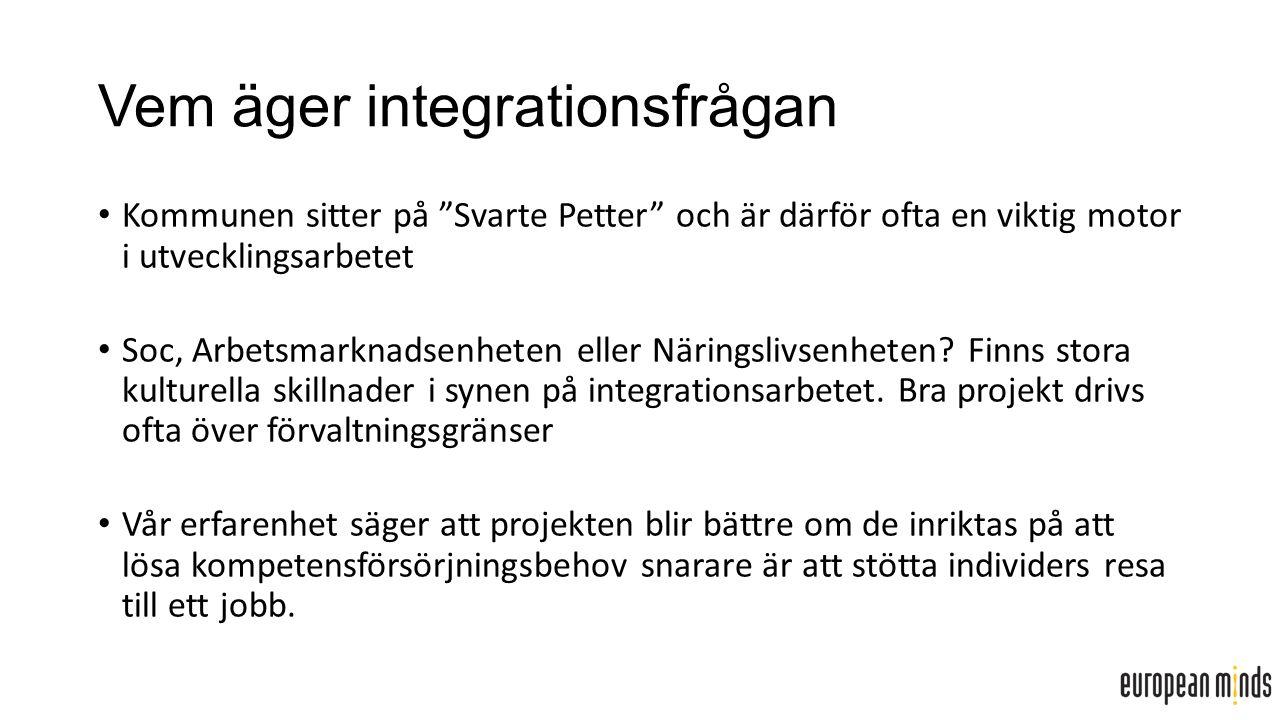Vem äger integrationsfrågan Kommunen sitter på Svarte Petter och är därför ofta en viktig motor i utvecklingsarbetet Soc, Arbetsmarknadsenheten eller Näringslivsenheten.