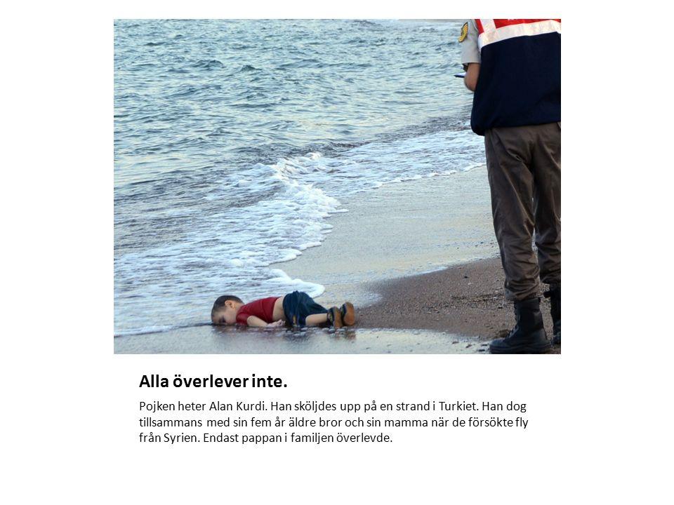 Alla överlever inte.Pojken heter Alan Kurdi. Han sköljdes upp på en strand i Turkiet.