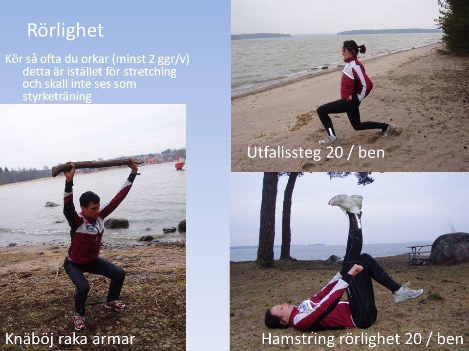 Rörlighet Hamstring rörlighet 20 / ben Utfallssteg 20 / ben Knäböj raka armar Kör så ofta du orkar (minst 2 ggr/v) detta är istället för stretching oc