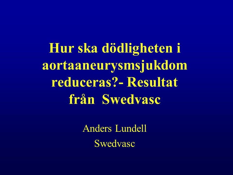 Hur ska dödligheten i aortaaneurysmsjukdom reduceras - Resultat från Swedvasc Anders Lundell Swedvasc