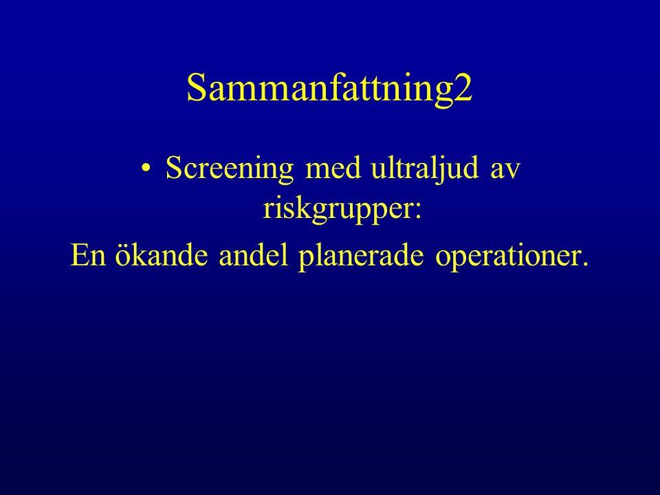 Sammanfattning2 Screening med ultraljud av riskgrupper: En ökande andel planerade operationer.