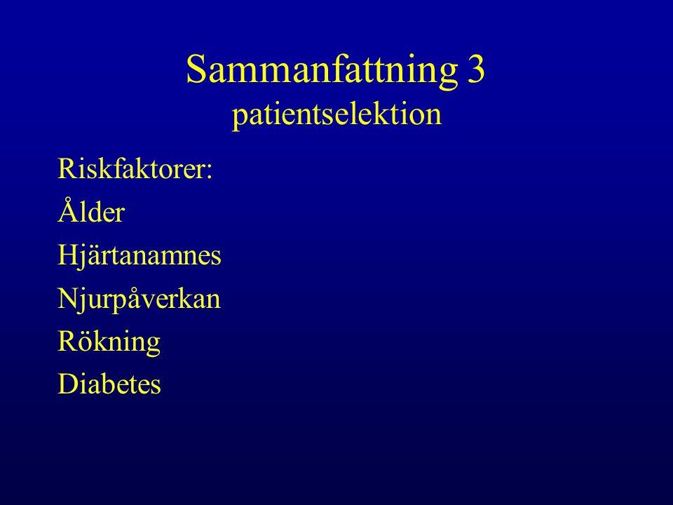 Sammanfattning 3 patientselektion Riskfaktorer: Ålder Hjärtanamnes Njurpåverkan Rökning Diabetes