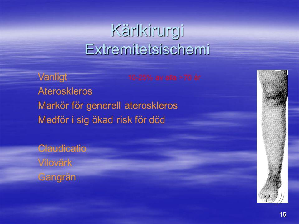 15 Kärlkirurgi Extremitetsischemi Vanligt 10-25% av alla >70 år Ateroskleros Markör för generell ateroskleros Medför i sig ökad risk för död Claudicatio Vilovärk Gangrän
