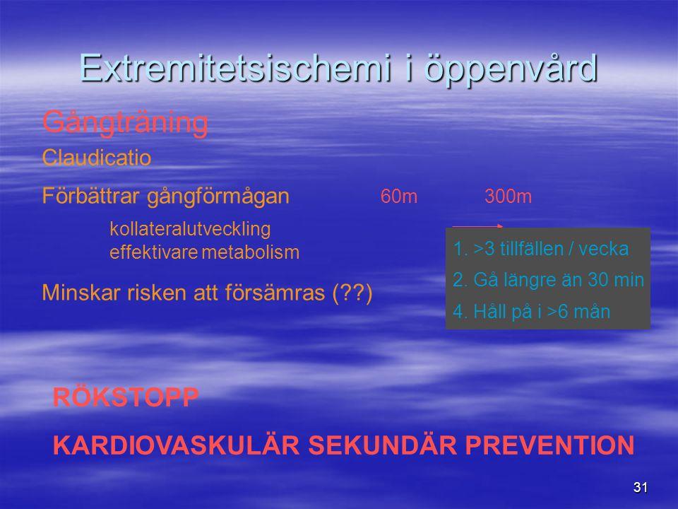 31 Extremitetsischemi i öppenvård Gångträning Claudicatio Förbättrar gångförmågan 60m 300m kollateralutveckling effektivare metabolism Minskar risken att försämras ( ) 1.