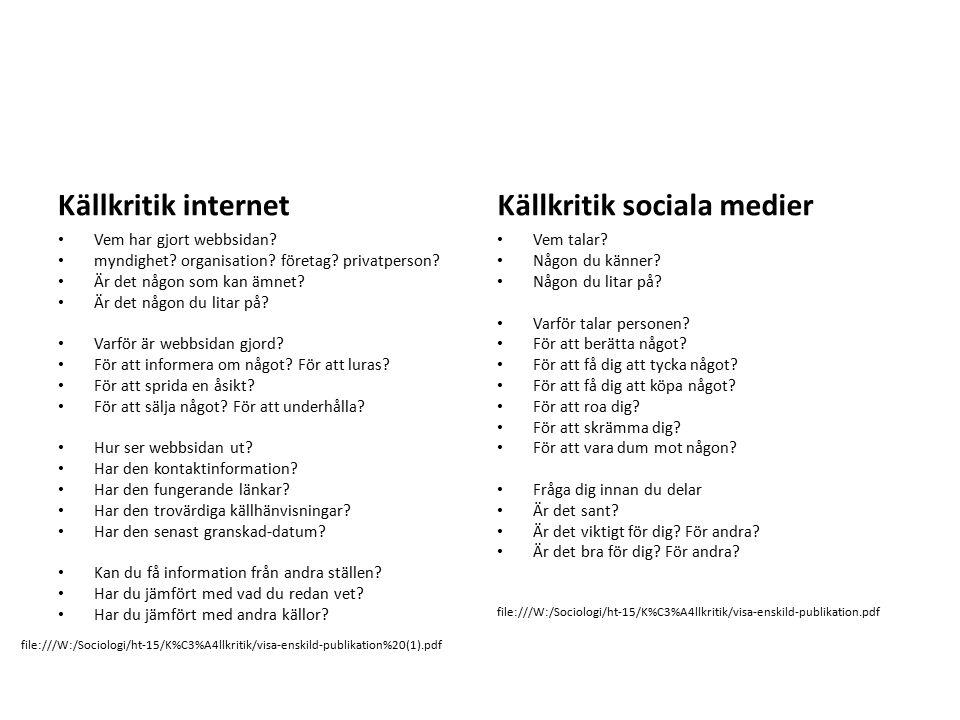 Källkritik internet Vem har gjort webbsidan? myndighet? organisation? företag? privatperson? Är det någon som kan ämnet? Är det någon du litar på? Var