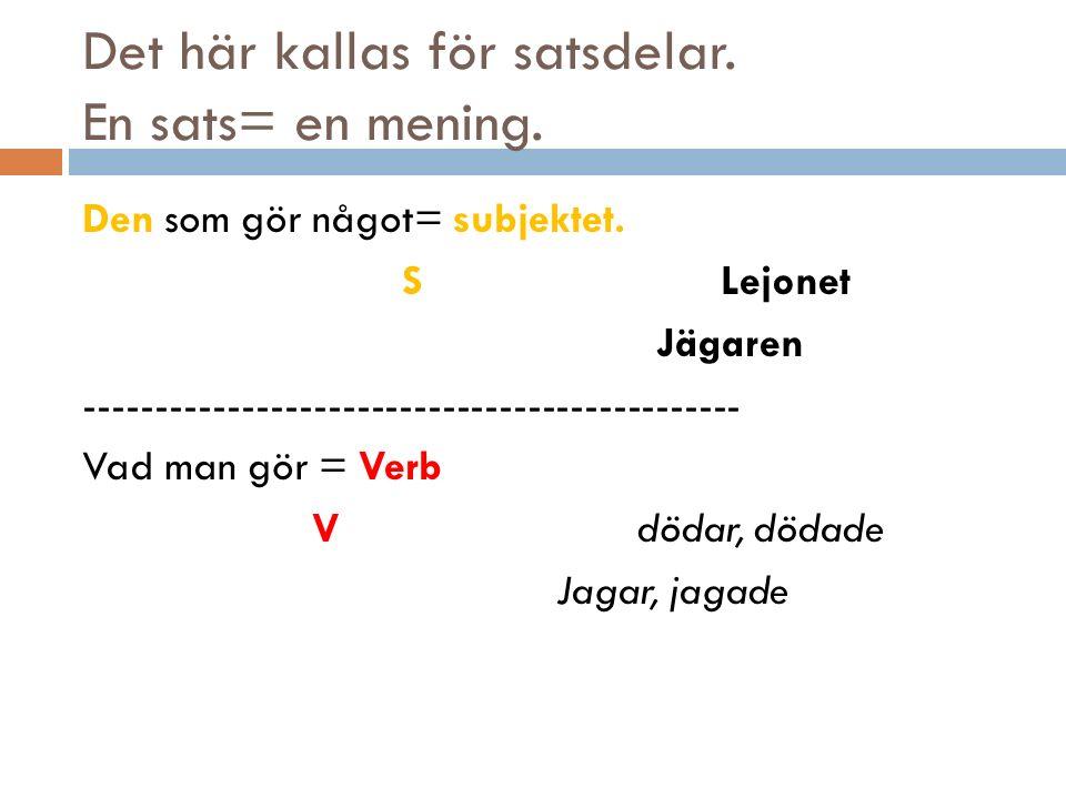 Det här kallas för satsdelar. En sats= en mening.